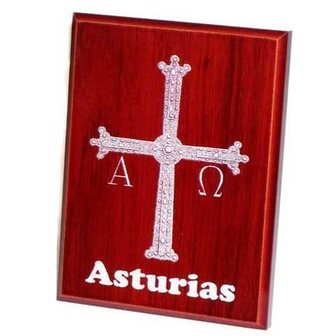 Artesania Asturiana -  Placas sobremesa Cruz de la Victoria color caoba  - Editorial Picu Urriellu
