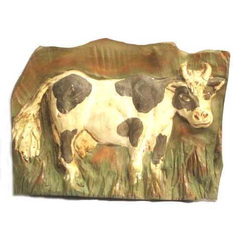 Artesania Asturiana -  Placa vaca ceramica - para colgar  - Editorial Picu Urriellu