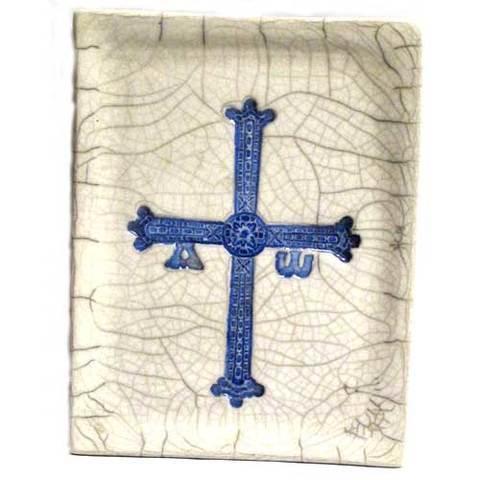 Artesania Asturiana -  Bandeja rectangular cruz de la victoria grande  - Editorial Picu Urriellu
