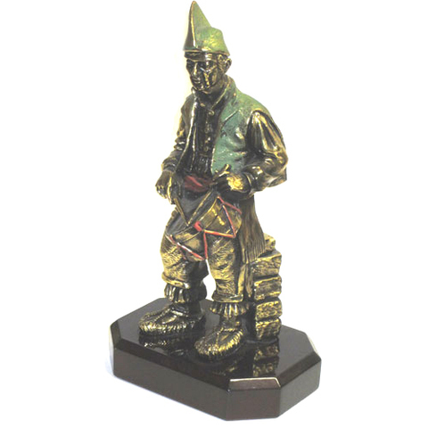 Artesania Asturiana -  Tamborilero peana grande bronce decorado - Editorial Picu Urriellu