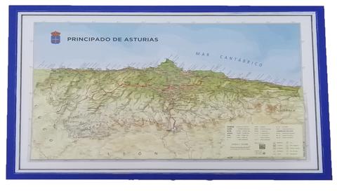 Artesania Asturiana -  Mapa Asturias relieve  ( marco azul ) - Editorial Picu Urriellu