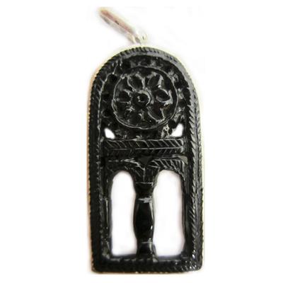 Colgante plata y azabache ventana San Miguel de Lillo - pequeña