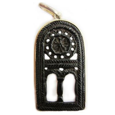 Colgante plata y azabache ventana San Miguel de Lillo - grande