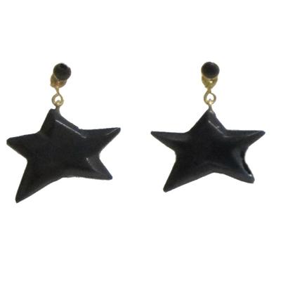 Pendientes estrella colgar/presión azabache y oro 1