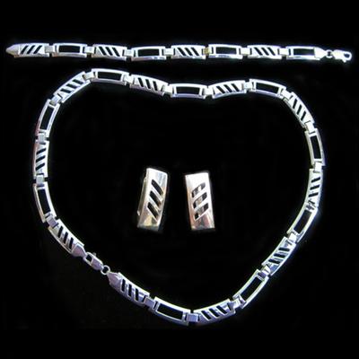 Conjunto gargantilla/pendientes/pulsera plata diseño