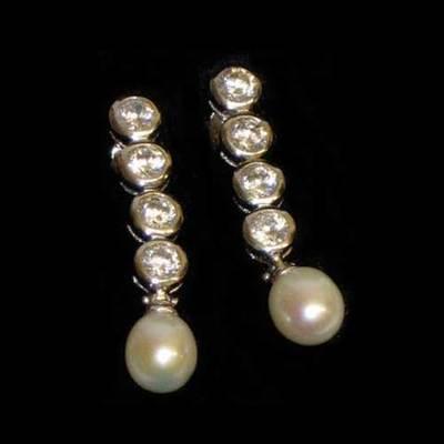 Pendientes plata 4 circonitas y perla