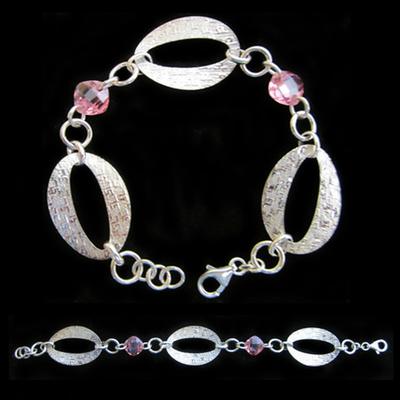 Pulsera plata 3 argollas con piedras naturales color rosa