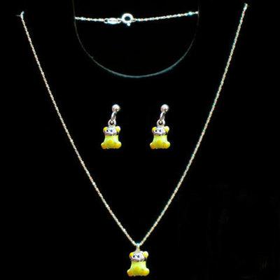 Conjuntos gargantilla/pendientes plata y esmalte amarillo -ositos