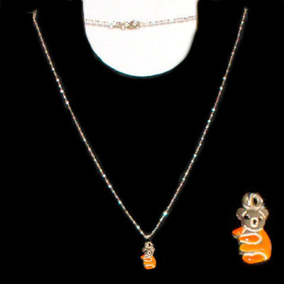 Gargantilla plata esmalte naranja - osito