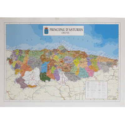 Mapa Asturias concejos en asturiano