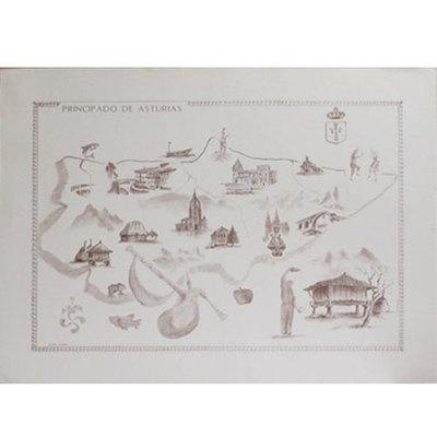 Mapa carboncillo Asturias con motivos tradicionales