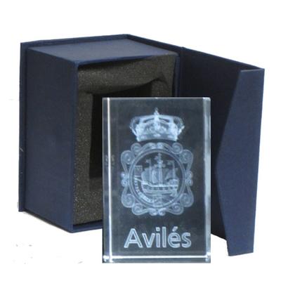 Escudo de Avilés cubo rectangular
