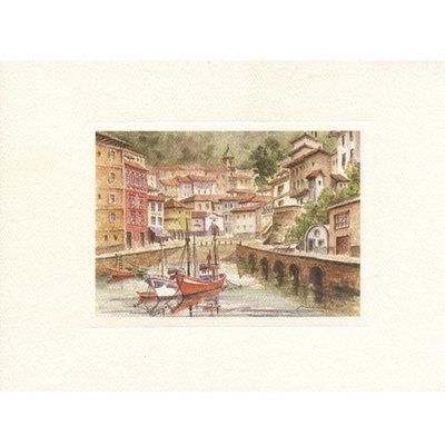 Acuarelas Asturias -Pueblos de la costa - desde el Nalon al Eo