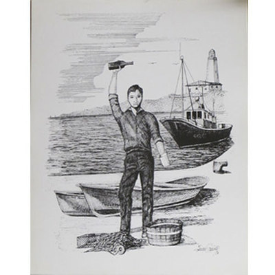 Plumilla litografia escanciador y barco