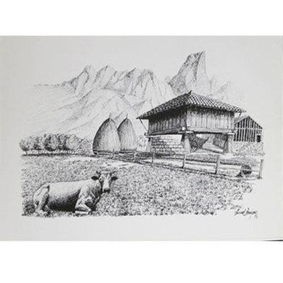 Plumillas litografia -paisaje hórreo y vaca