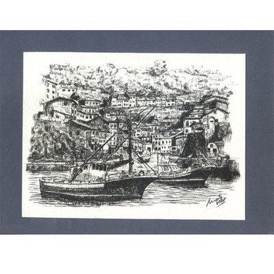 Plumilla puerto de Cudillero con cartoncillo
