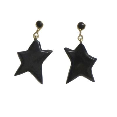 Pendientes estrella colgar/presion azabache y oro 2