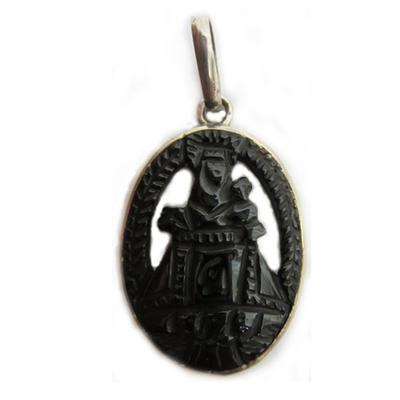 Colgante virgen covadonga orla plata y azabache tallada