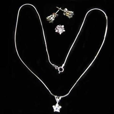 Conjunto plata gargantilla/pendientes - circonitas peq.