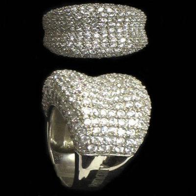 Anillo plata diseño firma  circonitas -ancho