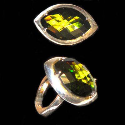 Anillo plata diseño piedras naturales color verde ovalada