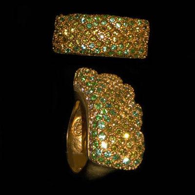 Anillos plata diseño firma circonitas y bañado en oro