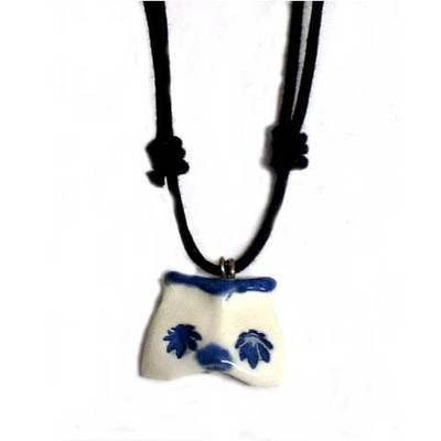 Colgante con cordon ceramica buho diseño - artesanal