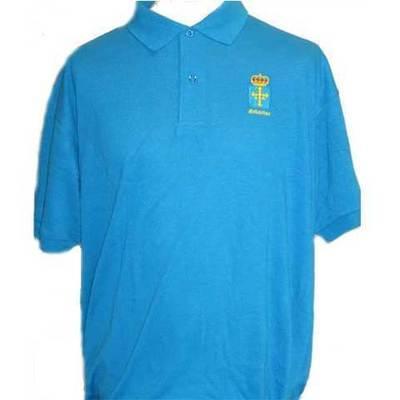 Polos bordados escudo Asturias azul claro