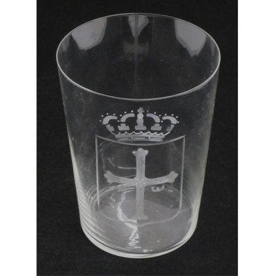 Vasos sidra tallados - escudo de Asturias