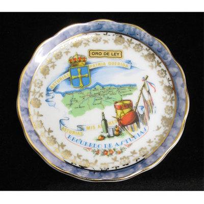 Plato porcelana color - motivos asturianos