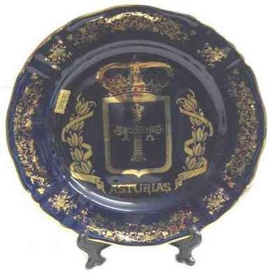 Plato cobalto grande escudo de Asturias