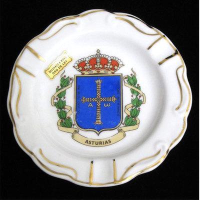 Cenicero redondo plano - escudo de Asturias