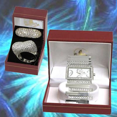 Reloj y anillo con circonitas