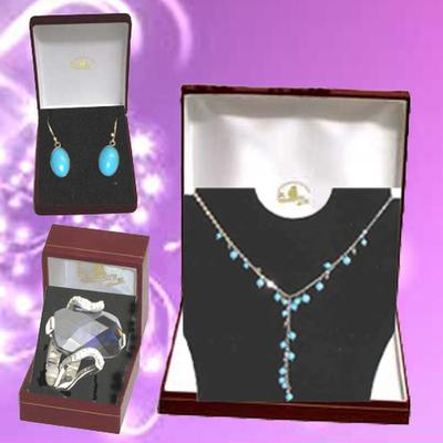 Gargantilla y pendientes turquesa con anillo plata y circonitas