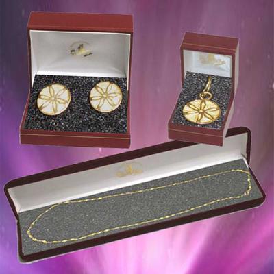 Pendientes y colgante flor galana con cadena oro
