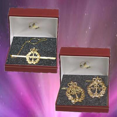 Pisacorbatas y gemelos escudo de Asturias laureado