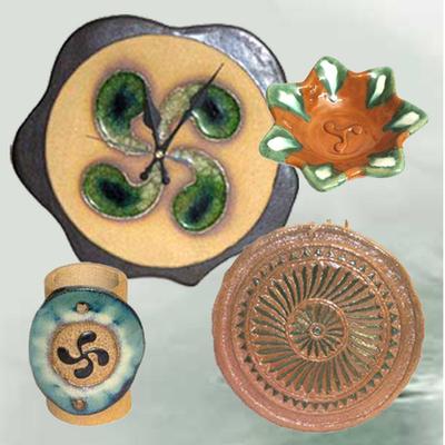 Reloj, Cenicero, Portalapices y Disco motivos celtas