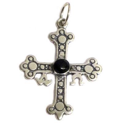 Cruz de la Victoria plata y azabache ( 3 tamaños )
