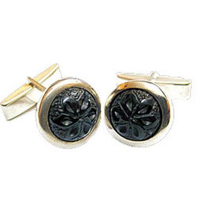 Gemelos tallados con flor galana plata y azabache