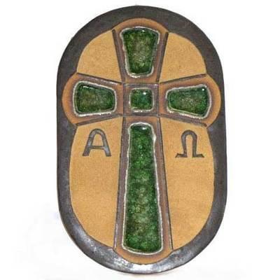 Cruz de la victoria ceramica con esmaltes y cristal