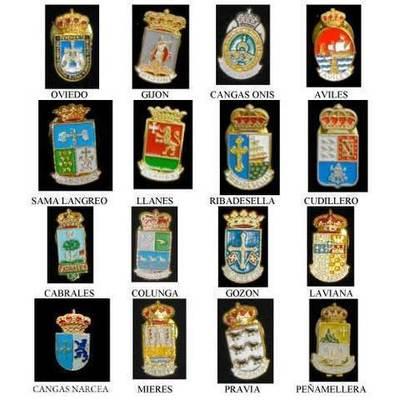 Pins escudos concejos asturianos