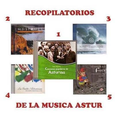 Paquete de 5 discos recopilatorios de la musica tradicional y folk asturiana