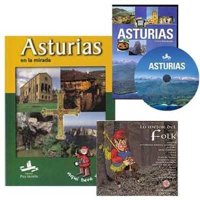 Paquete con un libro, un disco y un dvd sobre Asturias