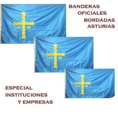 Banderas Asturias oficial - bordada la cruz