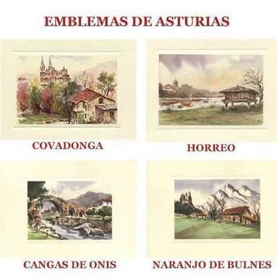 Acuarelas Emblemas de Asturias