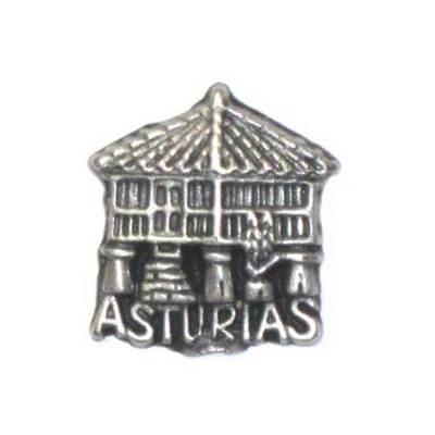 Pin Horreo con Asturias plateado