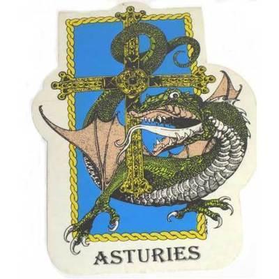 Pegatina Cuelebre cruz victoria con asturies