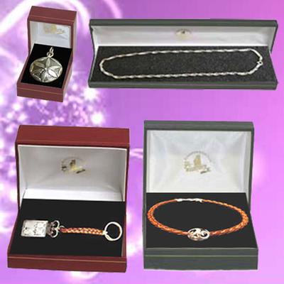 Llavero y pulsera plata/cuero y cadena con colgante plata