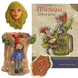 Libro mitologia asturiana + Portalapices trasgu + Mascara xana