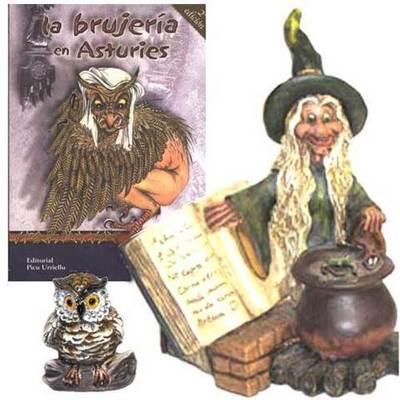 Bruja pocima con libro + libro brujeria asturiana